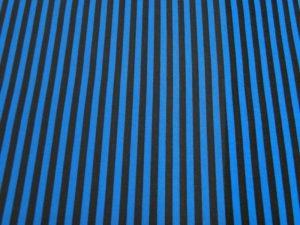 Katoen stof blauw met bruin gestreept