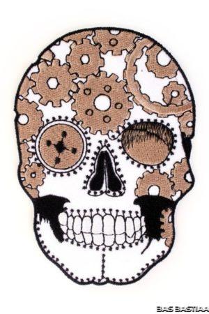 Applicatie embleem Skelet zwart/wit 12x8 cm incl. lijm