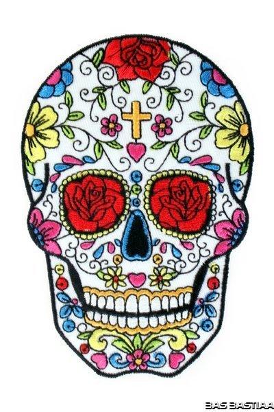 Applicatie embleem Sugar Skull kruisje 12x8