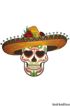 Applicatie embleem Sugar Skull met sombrero 14x18 cm incl. lijm