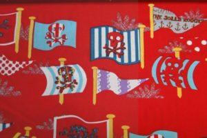 dapper katoen stof rood piratenvlag print A0753