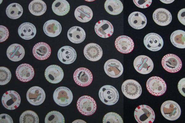Dapper kinder stof Button dieren print
