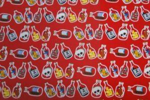 Dapper kinderstof flessen print rood