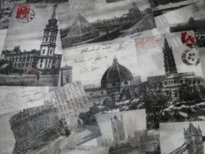 Decoratie gordijn D516 postcard torens offwhite