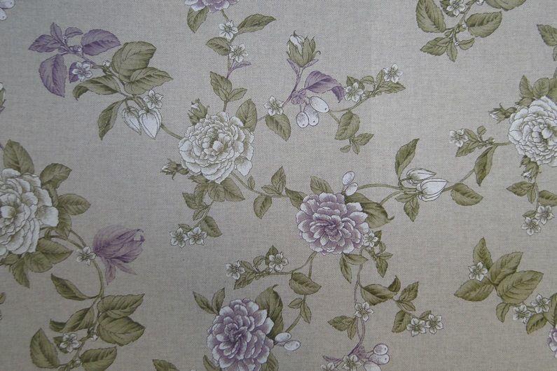 Decoratie Gordijn Stof Bloemen Print Zand Lila Off White B0922