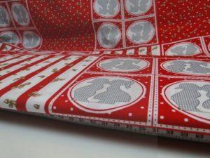 Decoratie stof W750 katoen rood/wit