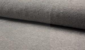 Fleece katoen stof melance grijs