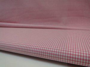 Katoen stof ruit roze met wit