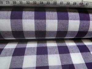 Katoen stof ruit paars met wit