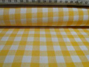 Katoen stof ruit geel met wit