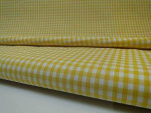 Katoen stof ruit geel