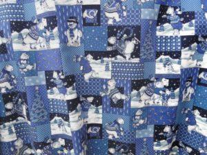 Kerst katoen K030 ijsbeer in vakken all-over blauw