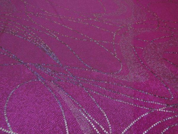 Lycra stof roze met zilver draad motief