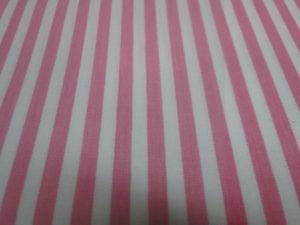 Poplin katoen stof donker roze/wit gestreept