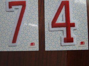 strijk applicatie cijfers 0 t/m 9 rood/ wit