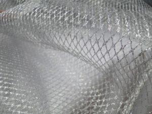 Tule stof glitter zilver