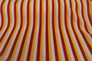 Oeteldonk streep stof, Texture, bistretch, rood,wit,geel 10 meter