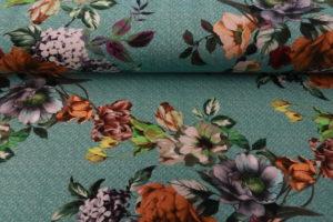 Tricot katoen stof, digitale bloem print, mint/groen/multi. Q1190