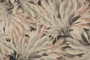 Suedine stof, bladeren/bloem print