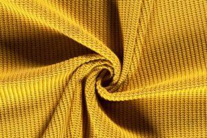 Gebreide katoen stof, geel