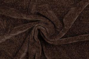 Chenille stof, bruin/gouden lurexdraad. Q2649