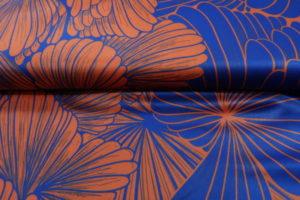 Satijn stof, bloem print