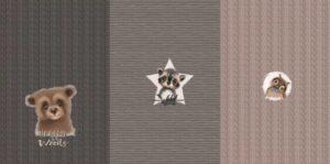 Stenzo tricot stof, bos dieren en breisel print