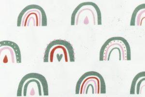 Tricot katoen stof, regenboog