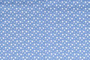 Poplin katoen stof, sterren print, blauw/wit.