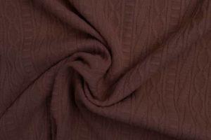 Jacquard gebreide stof, kabel relief, aubergine