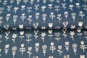 Stenzo poplin katoen stof, bloemetjes print, blauw