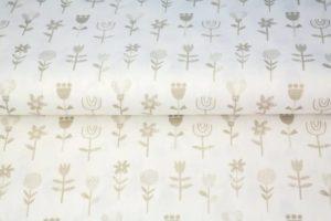 Stenzo poplin katoen stof, bloemetjes print, wit en beige