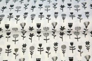 Stenzo poplin katoen stof, bloemetjes print, zwart
