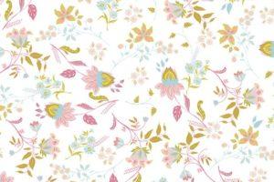 Poplin katoen stof, bloemen print, wit, By Poppy.