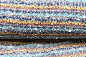 Gebreide stof, los, aqua/blauw/oker