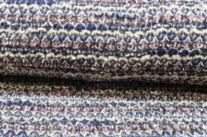 Gebreide stof, los, donkerblauw/beige/roze/zilverdraad