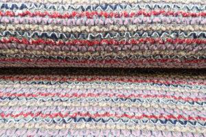 Gebreide stof, los, roze/rood/blauw/zilverdraad