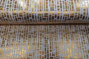 Texture stof met foliedruk, grafische print, wit goud