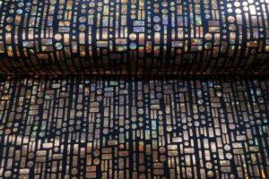 Texture stof met foliedruk, grafische print, zwart goud