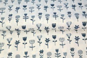 Poplin katoen stof, bloemetjes print, wit donkerblauw