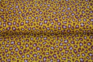 Stenzo poplin katoen stof, panterprint, geel/aubergine/roze. Q4014
