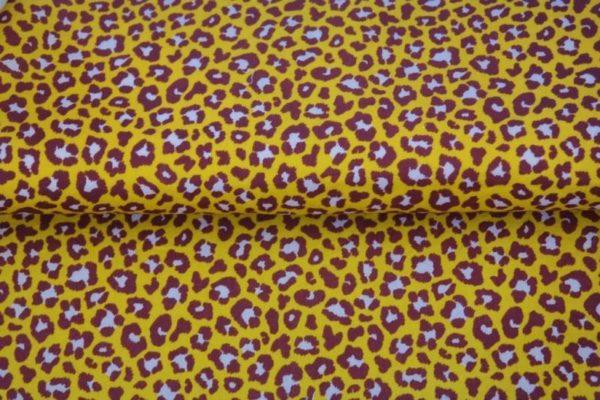 Stenzo poplin katoen stof, panterprint, geel aubergine