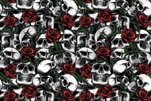 Poplin-katoen-stof-doodshoofden-zwart-wit-rood