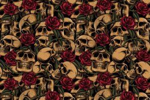 Poplin katoen stof, doodshoofden en rozen, zwart/rood