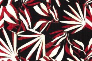 Viscose stof, bladeren, zwart/rood. Q4633