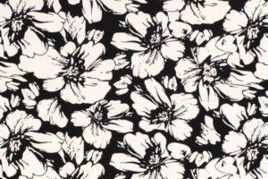Chiffon stof, bloemen, zwart/wit