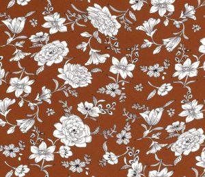 Chiffon stof, bloemen, hazalnoot/wit. Q4632