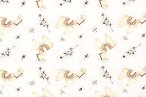 Tricot katoen stof, lama/katoenbolprint, offwhite/creme. Q4910