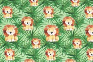 Katoenen tricot stof, lieve leeuwtjes met bladprint, groen/bruin/terra. Q5191