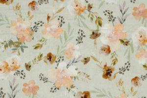 Hydrofiel mousseline stof, dubbeldoek, aquarel bloemenprint, beige/bruin/oranje. W121